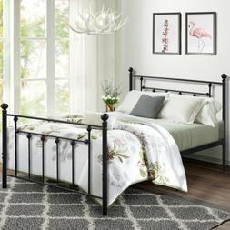 Victorian Antique Metal Platform Bed Frame Steel Slats No Bo