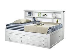 Vienna Youth Twin Captains Lounge Storage Bed in White