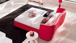 Zuri Furniture Vitali Leather Red Cal King Platform Bed by