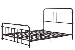 Wallace Metal Bed Frame in Dark Bronze with Vintage Headboar