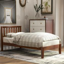 Walnut Wood Bed Frame Twin Size Platform W/Headboard&Footboa