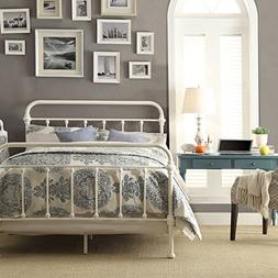White Antique Iron Metal Bed Frame Vintage Bedroom Furniture