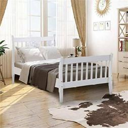 White Bed Frame Platform Bed No Mattress Foundation w/ Woode