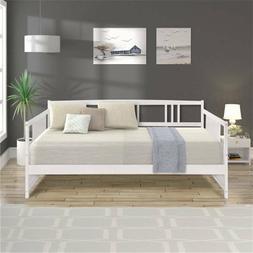 White Daybed Full Size Wood Bed Frame W/Slats Living Room Da