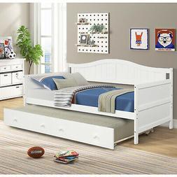 White Daybed with Trundle Bedroom Furniture Platform Bed Fra