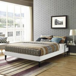 White Faux Leather Upholstered King Size Platform Bed Frame