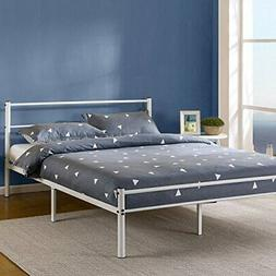 white metal platform bed frame