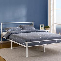 Zinus 12 Inch White Metal Platform Bed Frame with Headboard