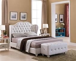 White Tufted Design Leather Look King Size Upholstered Platf