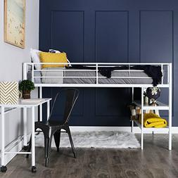 Walker Edison White Twin Loft Bed with Desk and Shelving