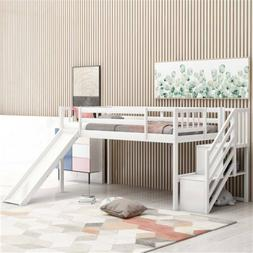 White Twin Size Low Loft Bed w/Adjustable Slide & Staircase