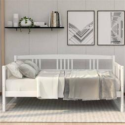 White Twin Size Solid Wood Daybed Bed Frame No Mattress, Mul
