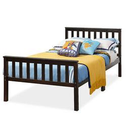 Wood Bed Frame Wood Slats Support Platform W/Solid Headboard