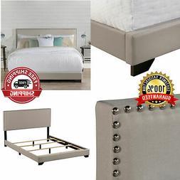 Wood Frame Slats Queen Size Bed Frame Upholstered Headboard