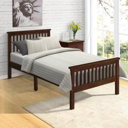 Wood Platform Bed Frame w/Headboard/Footboard/Wood Slat Supp