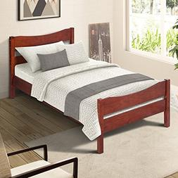 Merax Wood Platform Bed Frame with Headboard/No Box Spring N