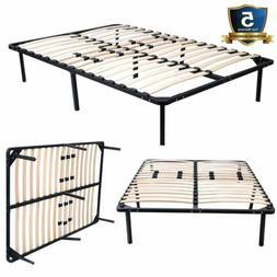 Wood Slats Metal Bed Frame Platform Bedroom Mattress Foundat