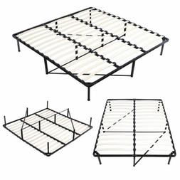 Wood Slats Metal Platform Bed Frame Mattress Foundation King