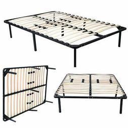 wood slats metal platform bed frame mattress