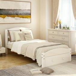 Wood Twin Bed Frame with Storage Drawers Headboard Platform