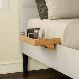 Wooden Bamboo Bed Frame Floating Clamp on Shelf Tray Night S