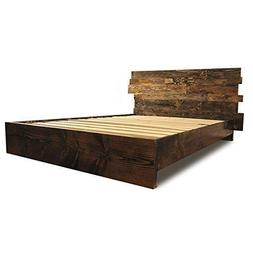 Wooden Platform Bed Frame and Offset Paneled Headboard/Moder