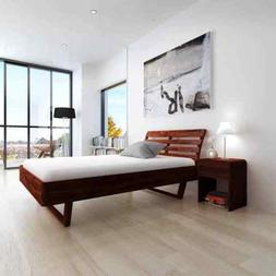 """Wooden Platform Bed Frame Queen Size 60""""x80"""" Solid Acacia Wo"""