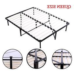 Wooden Slat Metal Bed Frame Wood Platform Bedroom Mattress F