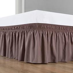 Biscaynebay Wrap Around Bed Skirt, Elastic Dust Ruffle Easy