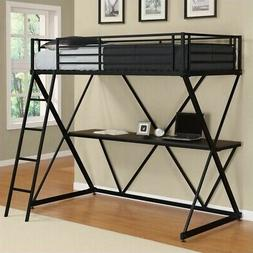 DHP X-Loft Space Saving Twin Silver Metal Bunk Bed with Desk