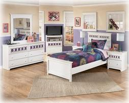 Zayley Twin Bedroom Set with Panel Bed Dresser Mirror and Ni