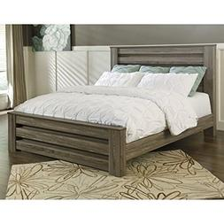 Ashley Zelen Wood King Rail Panel Bed in Brown